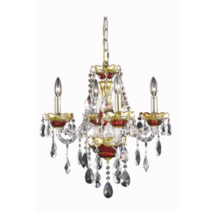 Alexandria Gold/Red Four-Light Chandelier with Clear Royal Cut Crystals