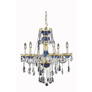 Alexandria Blue Six-Light Chandelier with Clear Royal Cut Crystals