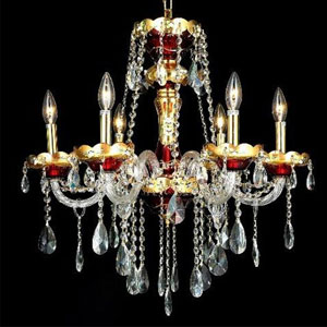 Alexandria Green Six-Light Chandelier with Clear Royal Cut Crystals