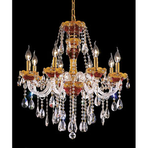 Alexandria Gold Eight-Light 26-Inch Chandelier with Royal Cut Clear Crystal