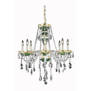 Alexandria Green Eight-Light Chandelier with Clear Royal Cut Crystals