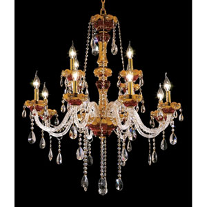 Alexandria Gold Twelve-Light 33-Inch Chandelier with Royal Cut Clear Crystal