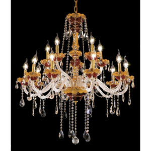 Alexandria Gold Fifteen-Light 35-Inch Chandelier with Royal Cut Clear Crystal