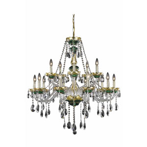Alexandria Green Fifteen-Light Chandelier with Clear Royal Cut Crystals
