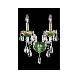 Alexandria Green Two-Light Sconce with Clear Royal Cut Crystals