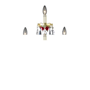 Alexandria Gold/Red Three-Light Sconce with Clear Royal Cut Crystals