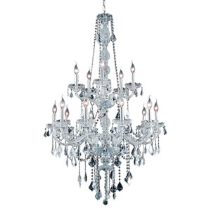Verona Chrome Fifteen-Light Chandelier with Clear Royal Cut Crystals