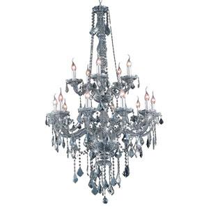 Verona Silver Shade Fifteen-Light Chandelier with Royal Cut Crystals