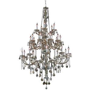 Verona Golden Teak Twenty-Five Light Chandelier with Golden Teak/Smoky Royal Cut Crystals