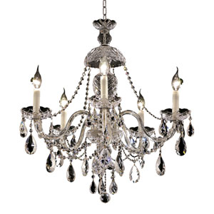 Alexandria Chrome Five-Light 25-Inch Chandelier with Royal Cut Clear Crystal