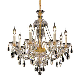 Alexandria Gold Seven-Light 26-Inch Chandelier with Royal Cut Clear Crystal