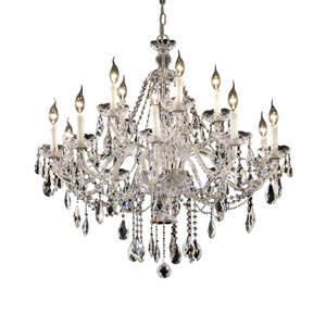 Alexandria Chrome Fifteen-Light 35-Inch Chandelier with Royal Cut Clear Crystal