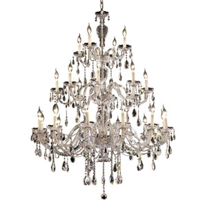 Alexandria Chrome Twenty-Four Light 45-Inch Chandelier with Royal Cut Clear Crystal