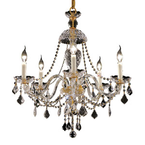 Alexandria Gold Five-Light 25-Inch Chandelier with Royal Cut Clear Crystal