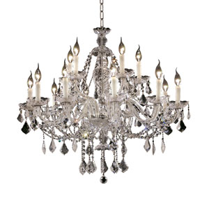 Alexandria Chrome Twelve-Light 28-Inch Chandelier with Royal Cut Clear Crystal