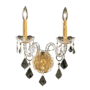 Alexandria Gold Two-Light 13-Inch Wall Sconce with Royal Cut Clear Crystal