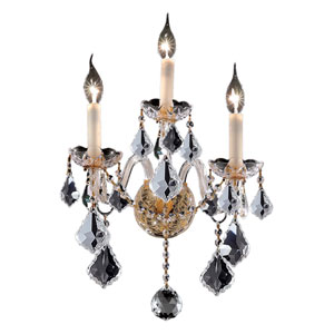 Alexandria Gold Three-Light Sconce with Clear Royal Cut Crystals