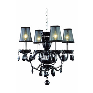Princeton Black Four-Light Chandelier with Jet Black Royal Cut Crystal