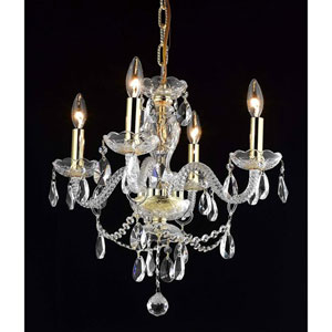 Princeton Gold Four-Light 17-Inch Chandelier with Royal Cut Clear Crystal