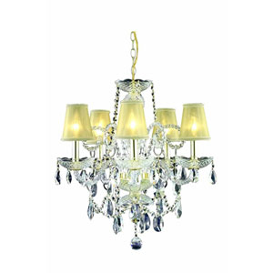 Princeton Gold Five-Light Chandelier with Clear Royal Cut Crystal