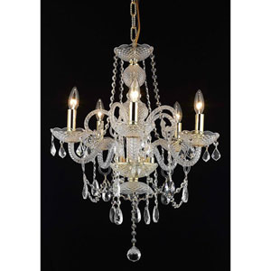 Princeton Gold Five-Light 20-Inch Chandelier with Royal Cut Clear Crystal
