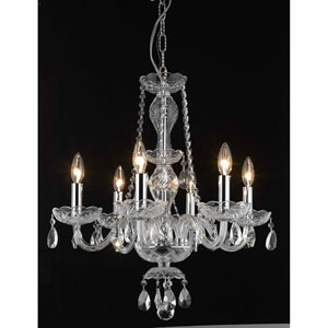 Princeton Chrome Six-Light 20-Inch Chandelier with Royal Cut Clear Crystal