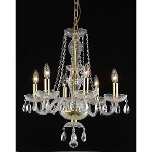 Princeton Gold Six-Light 20-Inch Chandelier with Royal Cut Clear Crystal