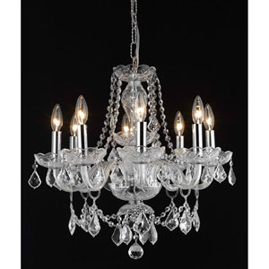 Princeton Chrome Eight-Light 20-Inch Chandelier with Royal Cut Clear Crystal