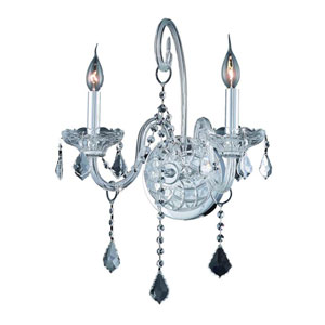 Verona Chrome Two-Light Sconce with Clear Royal Cut Crystals
