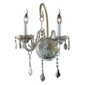 Verona Golden Teak Two-Light Sconce with Golden Teak/Smoky Royal Cut Crystals