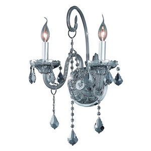 Verona Silver Shade Two-Light Sconce with Royal Cut Crystals