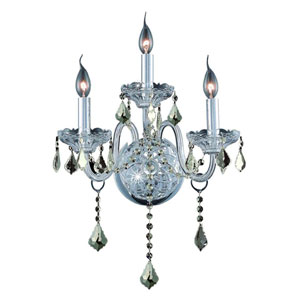 Verona Chrome Three-Light Sconce with Golden Teak/Smoky Royal Cut Crystals