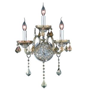 Verona Golden Teak Three-Light Sconce with Golden Teak/Smoky Royal Cut Crystals