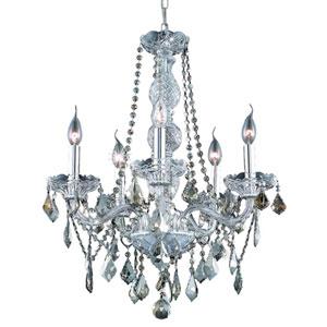 Verona Chrome Five-Light Chandelier with Golden Teak/Smoky Royal Cut Crystals