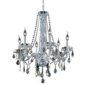 Verona Chrome Six-Light Chandelier with Golden Teak/Smoky Royal Cut Crystals