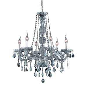 Verona Silver Shade Six-Light Chandelier with Royal Cut Crystals