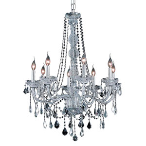 Verona Chrome Eight-Light Chandelier with Clear Royal Cut Crystals
