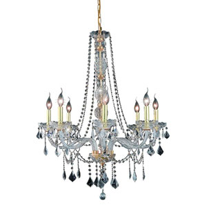 Verona Gold Eight-Light Chandelier with Clear Elegant Cut Crystals