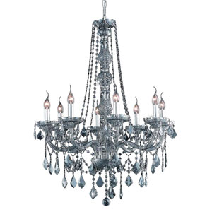 Verona Silver Shade Eight-Light Chandelier with Royal Cut Crystals