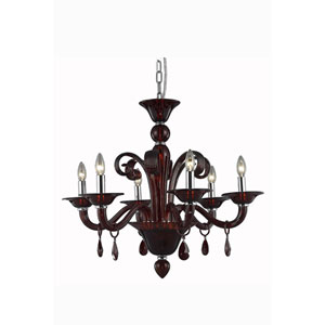 Muse Red Six-Light Chandelier with Bordeaux/Red Royal Cut Crystals