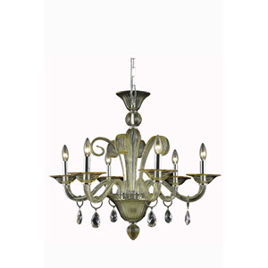 Muse Yellow Six-Light Chandelier with Golden Shadow/Champagne Royal Cut Crystals