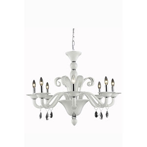 Muse White Eight-Light Chandelier with White Royal Cut Crystals