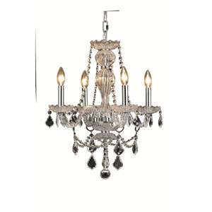 Giselle Chrome Four-Light Chandelier with Royal Cut Crystal