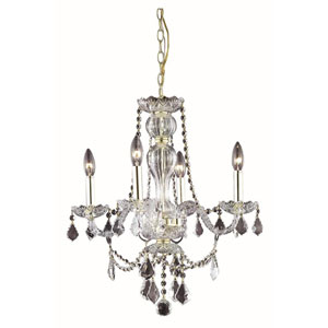 Giselle Gold Four-Light Chandelier with Royal Cut Crystal