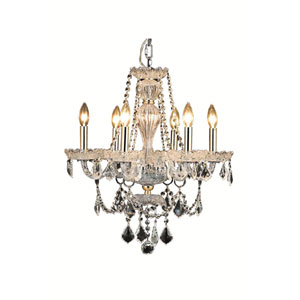 Giselle Gold Six-Light Chandelier with Royal Cut Crystal