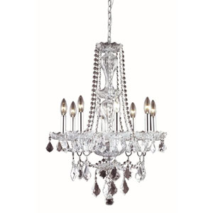Giselle Chrome Eight-Light Chandelier with Royal Cut Crystal