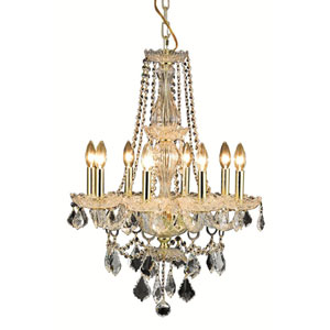 Giselle Gold Eight-Light Chandelier with Royal Cut Crystal