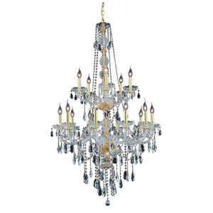 Verona Gold Fifteen-Light Chandelier with Clear Royal Cut Crystals