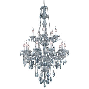 Verona Silver Shade Fifteen-Light Chandelier with Royal Cut Crystals