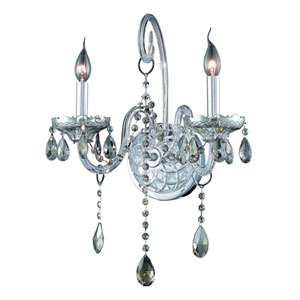 Verona Chrome Two-Light Sconce with Golden Teak/Smoky Royal Cut Crystals